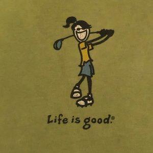 Life is Good Womens Green  Golf T-Shirt